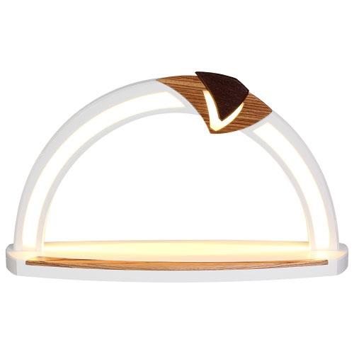 LED Design Bogen weiß, Applikation Zebrano/Wenge, Blende Plexiglas weiß - Sockel weiß/Wenge